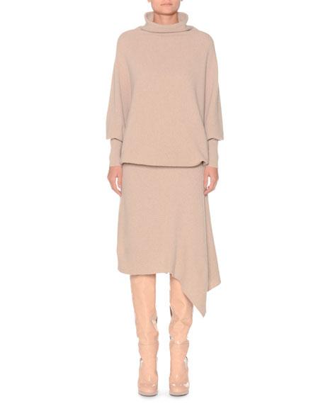Mock-Neck Long-Sleeve Blouson-Top Asymmetric Cashmere Dress