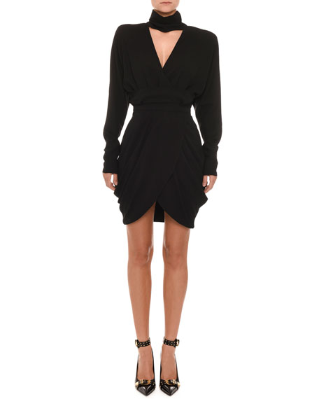 Long-Sleeve High-Collar V-Neck Faux-Wrap Cocktail Dress