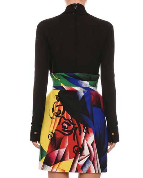 Abstract-Print Tulip Mini Skirt