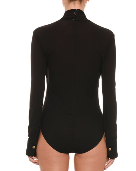 Faux-Wrap Long-Sleeve Bodysuit