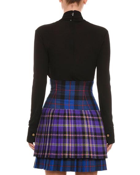 Pleated High-Waist Plaid Wool Skirt