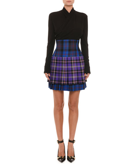 Pleated High-Waist Plaid Wool Skirt