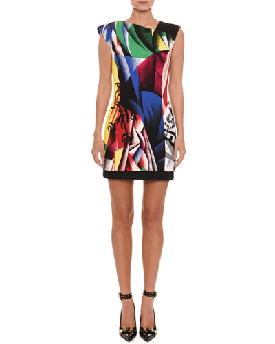 Sleeveless Clash-Print Fitted Sheath Cocktail Dress