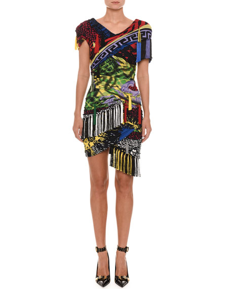 Short-Sleeve Mixed-Print Tassel-Tie Fitted Dress