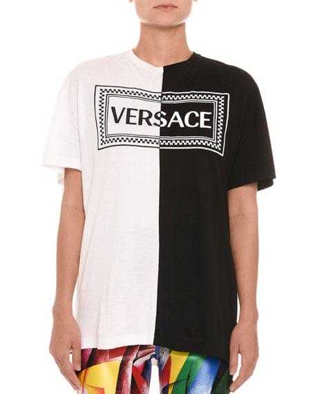 Crewneck Short-Sleeve Bicolor Logo Cotton T-Shirt