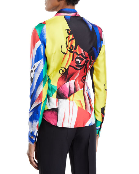 Clash-Print Button-Front Long-Sleeve Silk Blouse