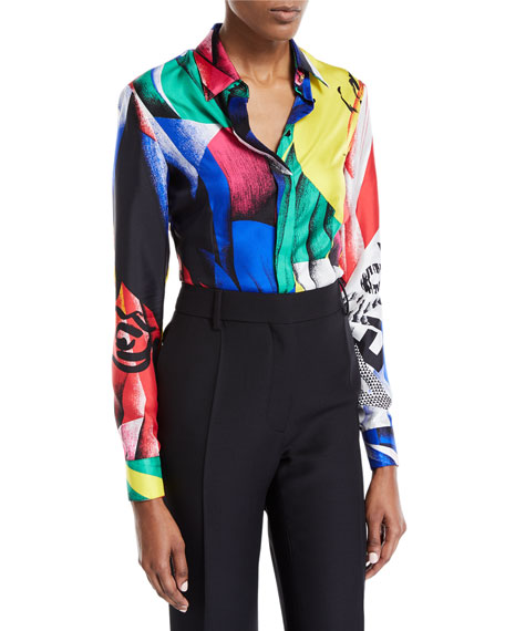 Versace Clash-Print Button-Front Long-Sleeve Silk Blouse and