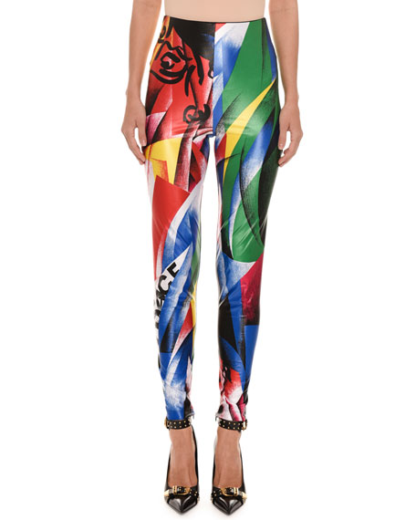 Versace Clash-Print Fitted Lycra?? Leggings