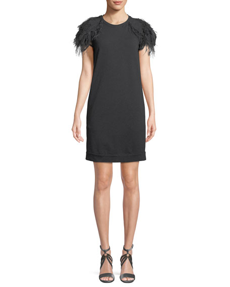 Jewel-Neck Cap-Sleeve Felpa Shift Dress with Feather Trim