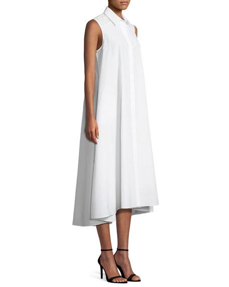Gayle Luxury Cotton/Silk Sleeveless Shirtdress