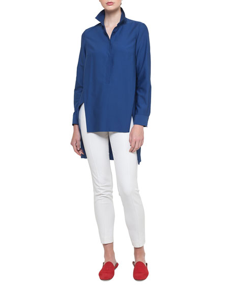 Long Button-Front Cotton Poplin Tunic Blouse
