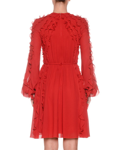 Ruffled Round-Neck Long-Sleeve Chiffon Dress