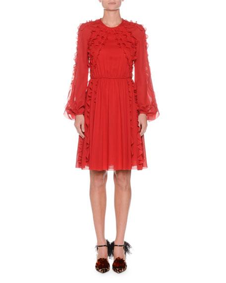 Ruffled Round-Neck Long-Sleeve Chiffon Dress