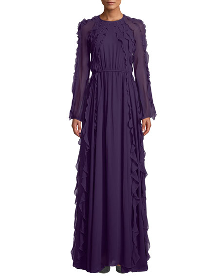 Long-Sleeve Tie-Waist Ruffled Silk Chiffon Evening Gown