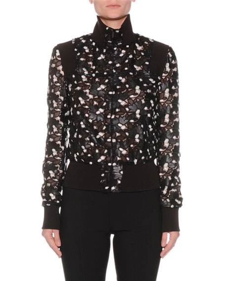 High-Neck Button-Front Floral Lace-Cut Bomber Jacket