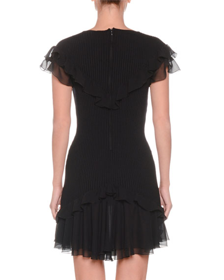V-Neck Cap-Sleeve Ribbed Stretch-Wool Dress w/ Ruffled Hem