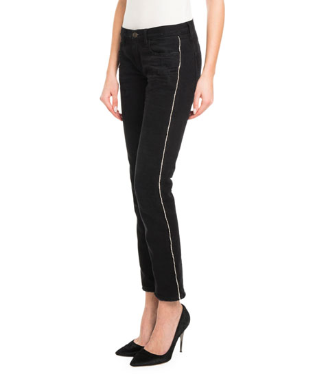 Crystal-Side Low-Rise Skinny Jeans
