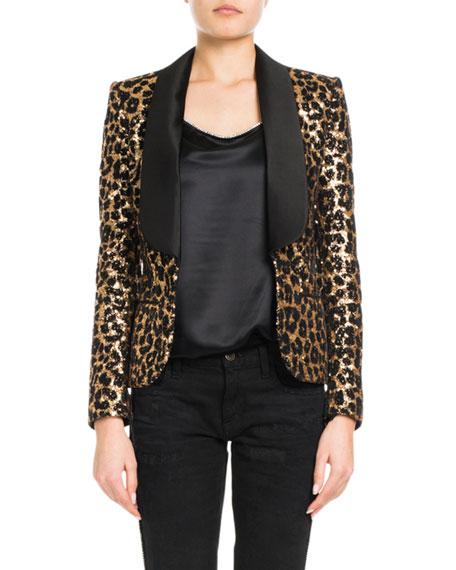 REDEMPTION Shawl-Lapel Leopard-Print Sequins Smoking Blazer