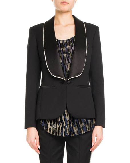 Wool Tuxedo Jacket w/ Strass Lapel Border
