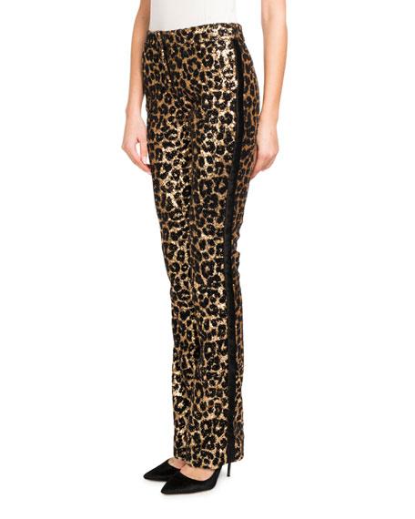 Straight-Leg Tux-Stripe Leopard-Paillette Pants