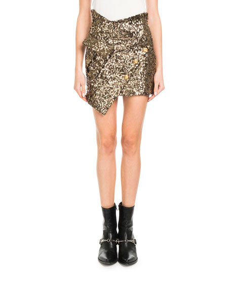 Asymmetric Sequin Mini Skirt