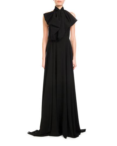 Mock-Neck Silk Georgette Halter Gown
