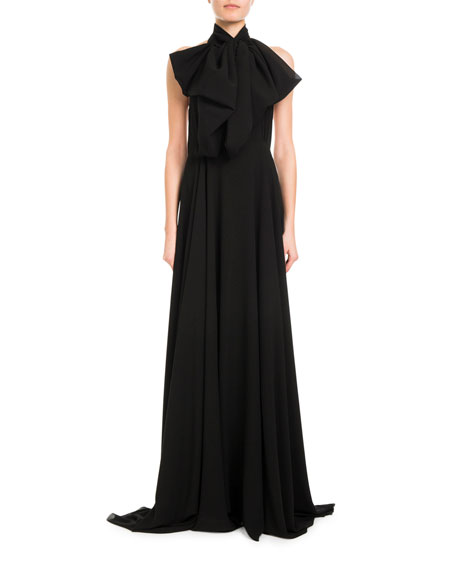 Mock-Neck Silk Georgette Halter Gown