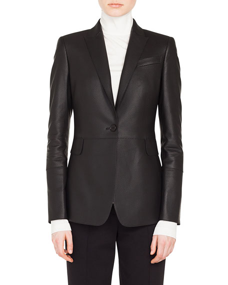 Akris punto One-Button Perforated Lamb Leather Blazer and