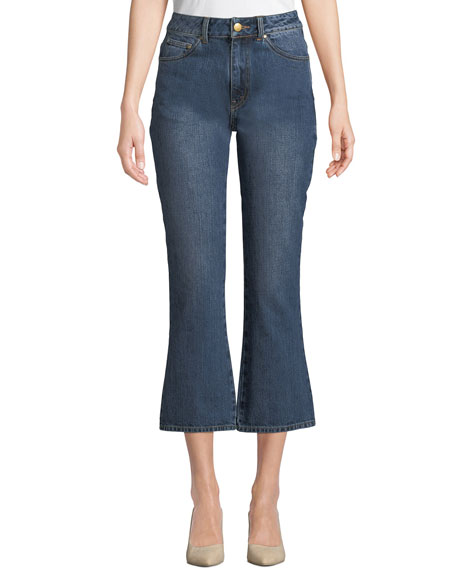 High-Rise Five-Pocket Flared-Leg Cropped Jeans