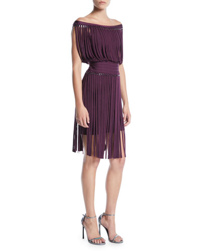 Off-the-Shoulder Fringe & Hardware Cocktail Dress
