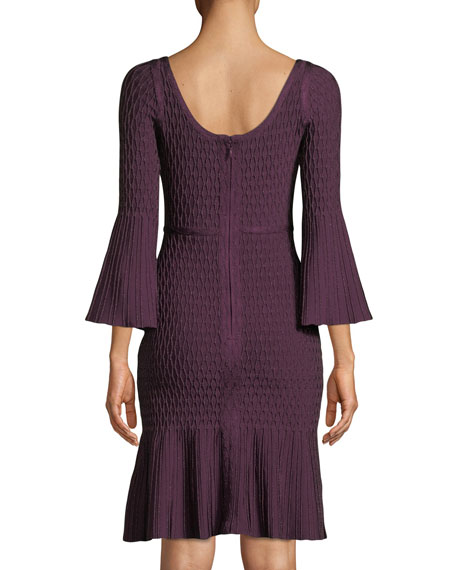 Scoop-Neck Flutter-Sleeve Body-Con Metallic-Jacquard Cocktail Dress