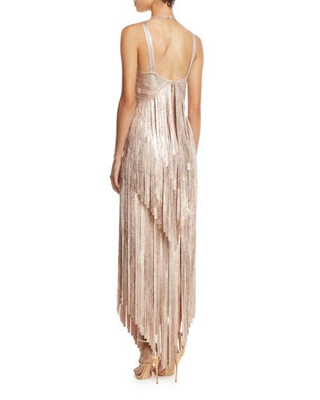 V-Neck Sleeveless Foil Fringe Midi Cocktail Dress