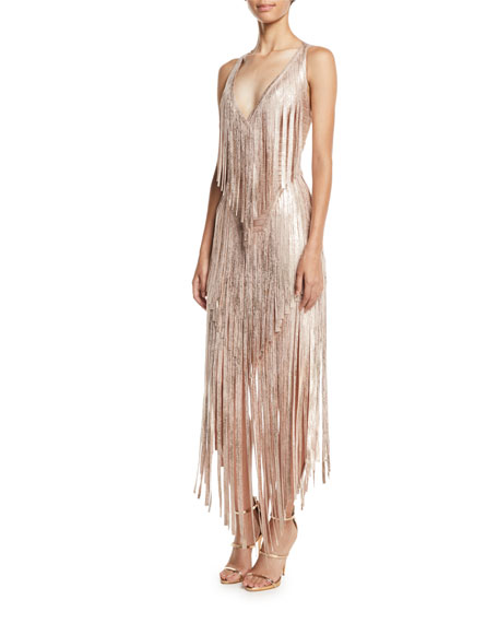 Herve Leger V-Neck Sleeveless Foil Fringe Midi Cocktail Dress