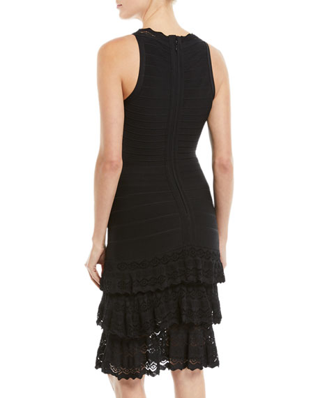 V-Neck Sleeveless Bandage Knit Body-Con Cocktail Dress w/ Lace