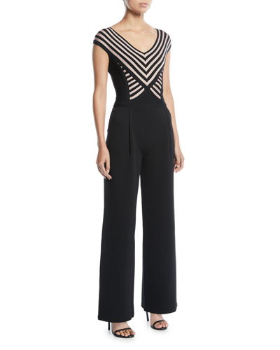 V-Neck Cap-Sleeve Striped Bandage Wide-Leg Jumpsuit