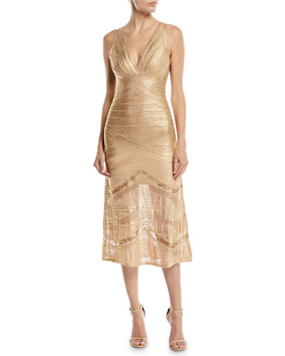 V-Neck Sleeveless Foil Bandage Knit Midi Cocktail Dress