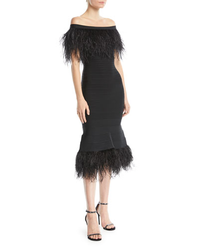 Off-the-Shoulder Ostrich-Feather Bandage Cocktail Dress
