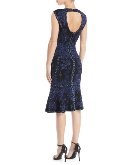 Sleeveless Round-Neck Damask-Jacquard Cocktail Dress