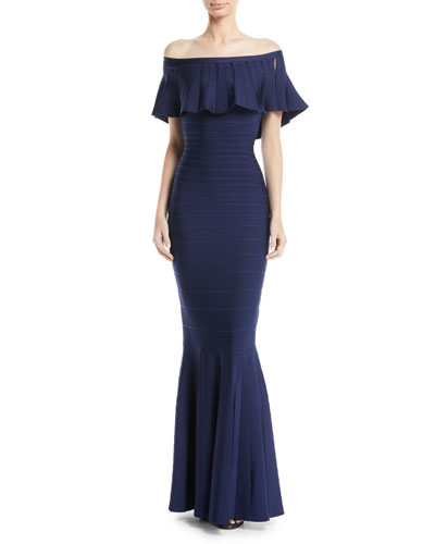 Off-the-Shoulder Trumpet Bandage Evening Gown w/ Ruffled Overlay