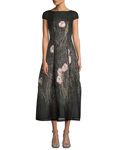 Rouche 1 Floral Shower-Embroidered Cap-Sleeve Bell-Shape Midi Cocktail Dress