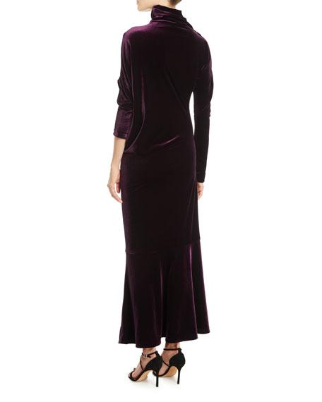 Roberry1 Mock-Neck Long-Sleeve Long Velvet Dress