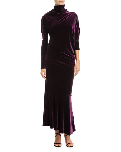 Roberry1 Mock-Neck Long-Sleeve Long Velvet Dress