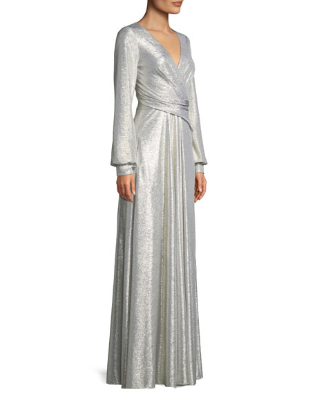 Rowley1 V-Neck Long-Sleeve Wrap-Design Metallic Pleated Jersey Evening Gown