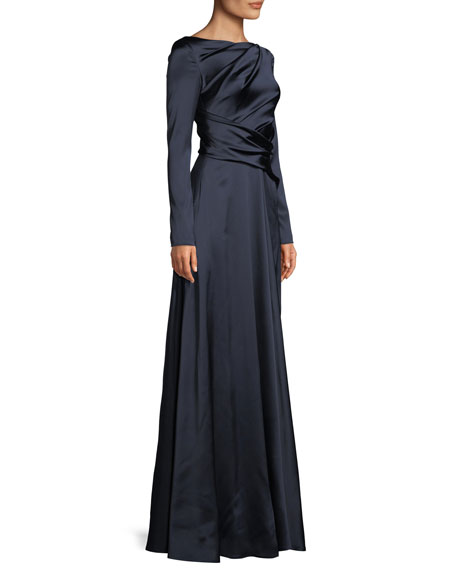 Ross High-Neck Long-Sleeve Ruched A-Line Stretch-Satin Evening Gown