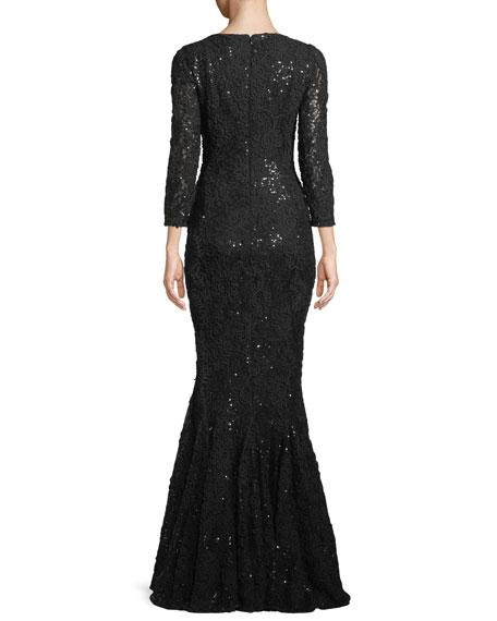 Roar3 Bracelet-Sleeve Mermaid Sequin Evening Gown w/ Illusion