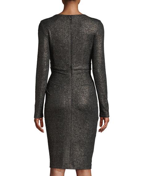 Rodigo Long-Sleeve V-Neck Glitter-Jersey Fitted Cocktail Dress