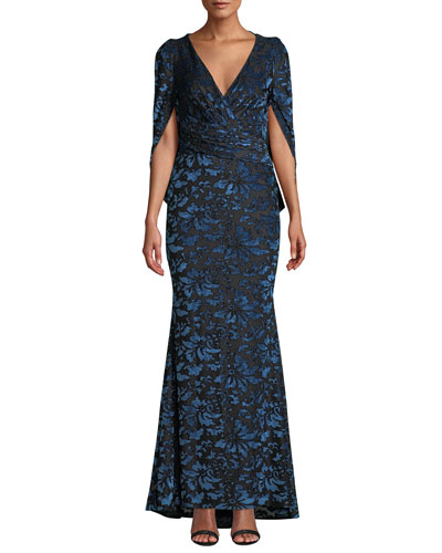 Floral-Burnout Velvet Evening Gown