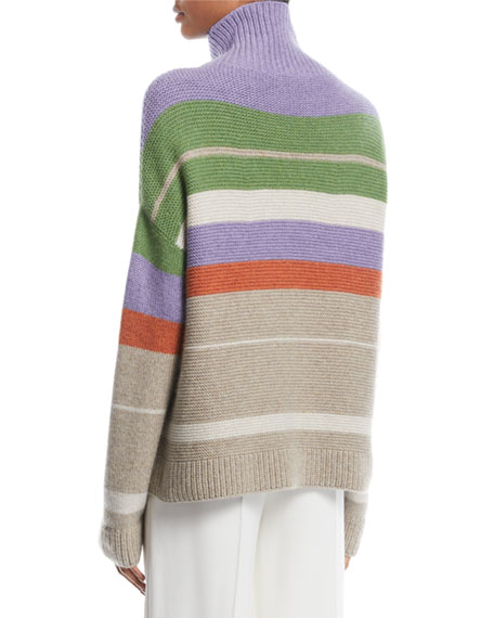 Darlington Turtleneck Striped Cashmere Knit Sweater