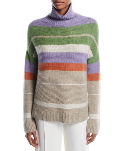 Darlington Turtleneck Striped Cashmere Knit Sweater