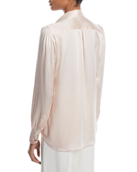Noah Button-Front Long-Sleeve Silk Satin Blouse